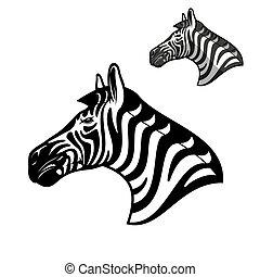 mule, zebra, dyr, afrikansk, vild, anføreren, ikon