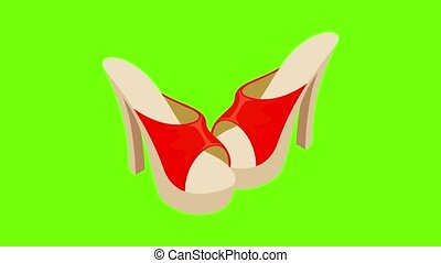 Mules sandals icon animation cartoon best object on green screen background