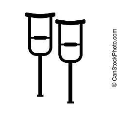 muletas, ambulante, símbolo