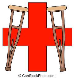 muletas, símbolo, primeros auxilios