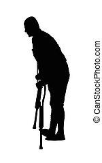 muletas, silueta, legged, uno, hombre incapacitado