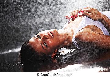 mulher água, estúdio