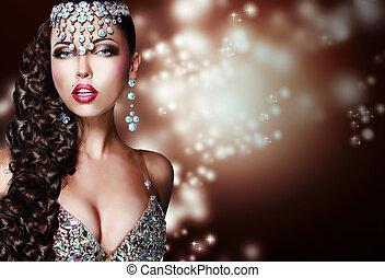 mulher, árabe, misteriosa, brilhante, style., ornamentação