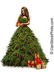 mulher, árvore natal, vestido, e, presente, presente, modelo moda, em, ano novo, vestido, isolado, sobre, fundo branco