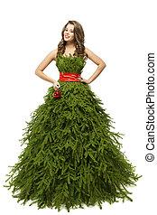 mulher, árvore natal, vestido, modelo moda, em, xmas, vestido, isolado, sobre, fundo branco