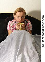 mulher, é, doente, com, um, gripe, 2
