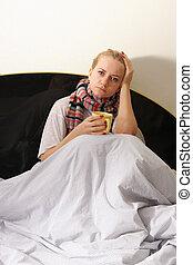 mulher, é, doente, com, um, gripe, 3