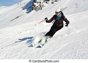 mulher, é, esquiando, em, um, refúgio esqui