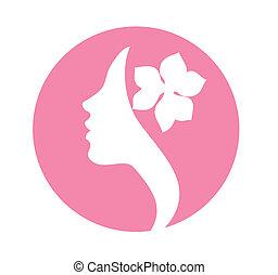mulher, ícone, jovem, rosto