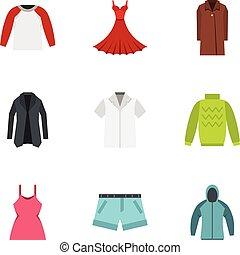 mulher, ícones, cobrança, jogo, guarda-roupa, moda