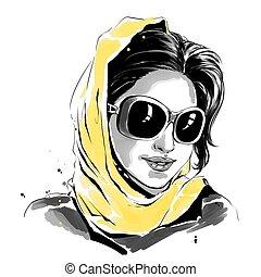 mulher, óculos de sol, amarela, aquarela, moda, ilustração, echarpe