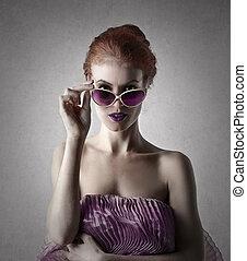 mulher, óculos de sol