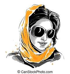 mulher, óculos de sol, ilustração, aquarela, moda, laranja, echarpe