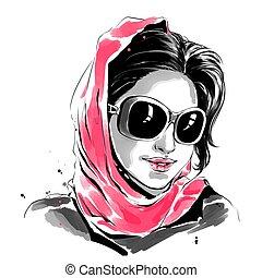 mulher, óculos de sol, ilustração, aquarela, moda, scarf vermelho