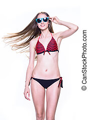 mulher, óculos de sol, jovem, isolado, swimsuit, sorrindo, branca