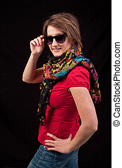 mulher, óculos de sol, moda, posar, fundo, pretas, echarpe