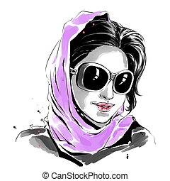 mulher, óculos de sol, roxo, ilustração, aquarela, moda, echarpe