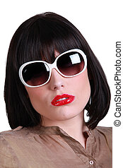mulher, óculos de sol, sofisticado