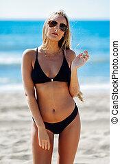 mulher, óculos de sol, swimwear, loura, praia, aviador