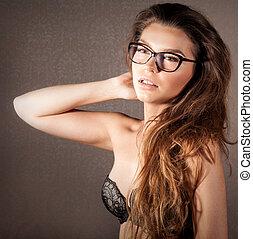 mulher, óculos, posar, atraente