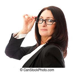 mulher, óculos, rosto