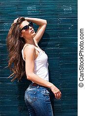 mulher óculos sol