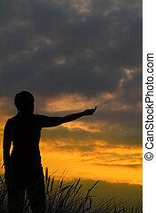 mulher, #2, esticar, braço, dela, saída