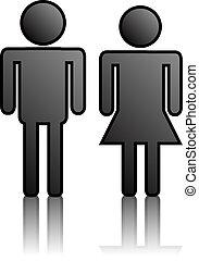 mulher, 2, homem