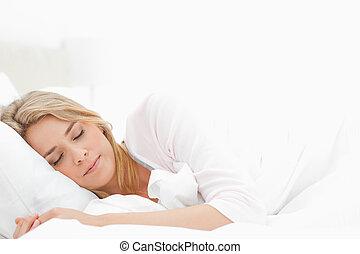 mulher, a., dela, braços, dormir, esticado, frente,...
