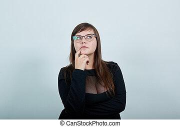 mulher, aberta, olhos, mão, olhando jovem, queixo