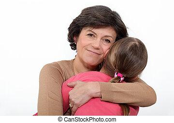 mulher, abraçando, dela, neta