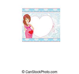 mulher, abstratos, bebê, cartão, fundo, -, chuveiro, grávida