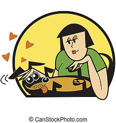 mulher, acariciar, clip, cão, arte gráfica