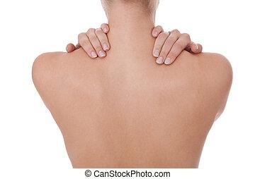 mulher, acariciar, dela, nu, ombro, e, costas