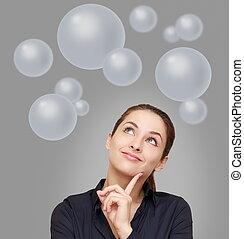 mulher, acima, negócio, pensando, muitos, cima, cinzento, olhar, fundo, bolhas