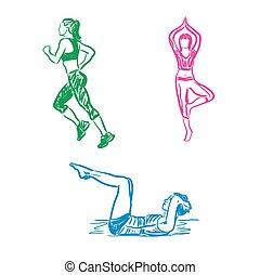 mulher, acoplado, em, esportes, condicão física