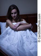 mulher, acordado, dela, cama