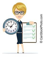 mulher, acordo, clock., segurando