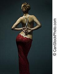 mulher, adelgaçar, jovem, excitado, vestido, vermelho