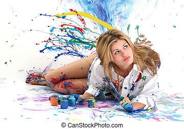 mulher, adolescente, pintura