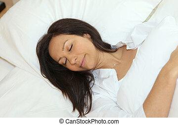 mulher, adormecido, dela, cama
