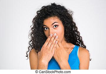 mulher africana, boca, dela, cobertura