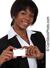 mulher africana, mostrando, cartão