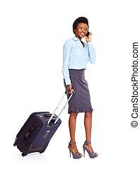 mulher africana, negócio, mala