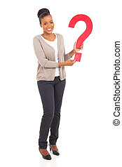 mulher africana, pergunta, segurando, marca