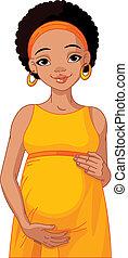 mulher africana, preparado, grávida
