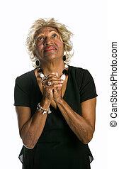 mulher africano-americana, orando