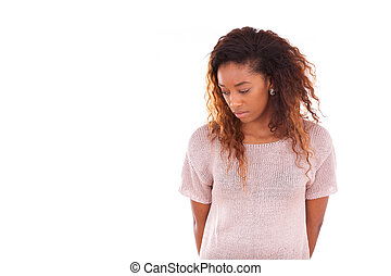 mulher, africano, -, americano, jovem, pensativo, pretas,...