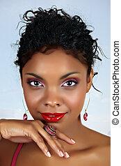 mulher, africano, bonito