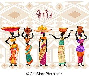 mulher, africano, ornamento, fundo, vestido étnico